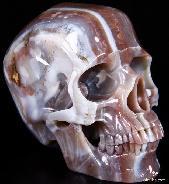 "Giant Fine Gemstone 7.9"" Mozambique Agate Carved Crystal Skull, Super Realistic #W4000341"