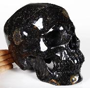 "Peculiar Titain 9.2"" Jet Carved Crystal Skull, Super Realistic"