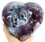 Dec 14, 2014 ACSAD (A Crystal Skull a Day) - Be Mine Valentine - Amethyst Agate Geode Carved Crystal Skulls Heart Sculpture with Stand