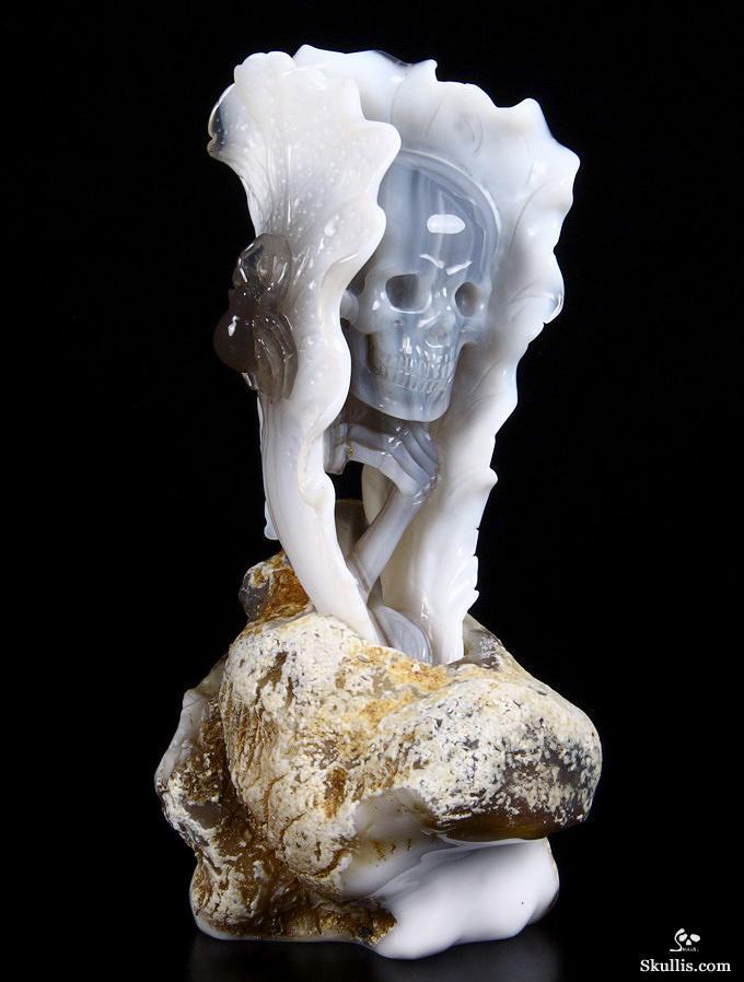 Agate Crystal Skull in Leaves with Spider
