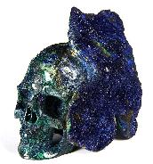 "AMAZING UNIQUE Druse Huge 4.5"" Azurite & malachite Carved Crystal Skull"