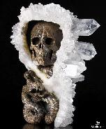Feb 21, 2015 ACSAD (A Crystal Skull a Day) - Ophiuchus - Quartz Druse Carved Crystal Skull and Snake with Ruby Eyes Sculpture