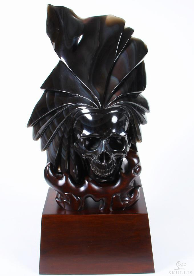 Rainbow Obsidian Crystal Skull Sculpture