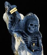 May 31, 2015 ACSAD (A Crystal Skull a Day) - Self Discovery - Blue Ridge Coral Carved Crystal Skull Skeleton with 18K Gold Plated 925 Sterling Silver Hammer and Chisel Sculpture with Black Obsidian Stand