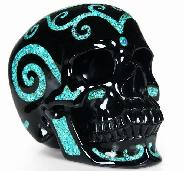 Captivating Black Obsidian with Turquoise Inlay Carved Crystal Skull Sculpture