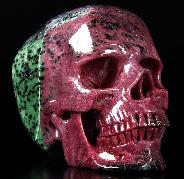 "Amazing Gemstone Huge 4.8"" Ruby Zoisite Carved Crystal Skull, Super Realistic"