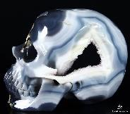"Lifesized 7.9"" Amethyst Geode Agate Carved Crystal Skull"