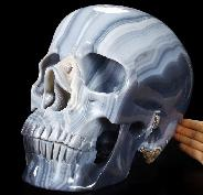 "Amazing Titan 12.2"" Grey & White Agate Carved Crystal Skull, Super Realistic"