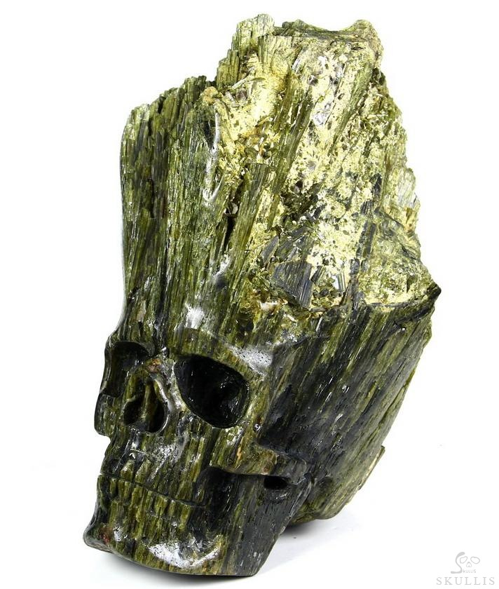 Tourmaline Crystal Skull Sculpture