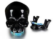"Awesome Collection Lifesized 7.2"" Black Obsidian Carved Crystal Skull with Opal Teeth and Detachable Jaw Sculpture"