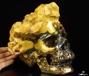 "Awesome Lifesized 8.1"" Ocean Jasper Carved Crystal Skull Sculpture"