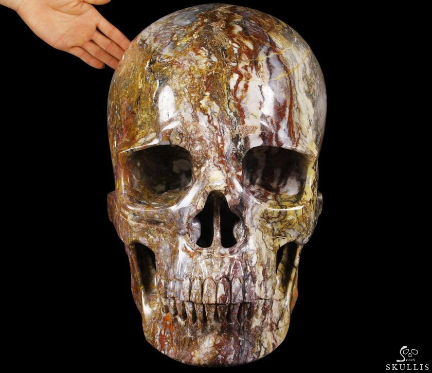 Blue, Gold & Red Pietersit Crystal Skull