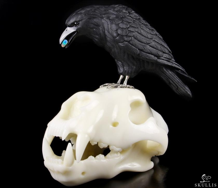 Black Obsidian Crystal Raven with Opal in Mouth, Standing on Wolf Skull Sculpture