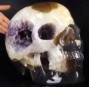 "Amazing Titan 12.3"" Agate Amethyst Geode Carved Crystal Skull, Super Realistic"