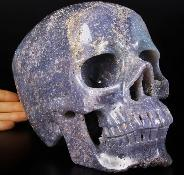 "Titan Gemstone 8.1"" Purple Grape Agate Geode Carved Crystal Skull, Super Realistic"