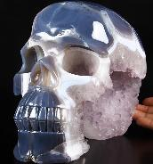 "Awesome Giant 9.6"" Agate Amethyst Geode Carved Crystal Skull, Realistic"