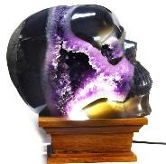 "Giant 8.7"" Agate Amethyst Geode Carved Crystal Skull, Realistic"
