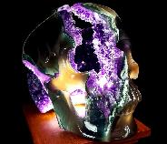 "Amazing Flash Lifesized 7.7"" Agate Amethyst Geode Carved Crystal Skull, Realistic"