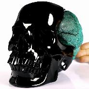 "Original Design Giant 8.1"" Black Obsidian Carved Crystal Skull With Malachite Brain, Super Realistic, Healing"
