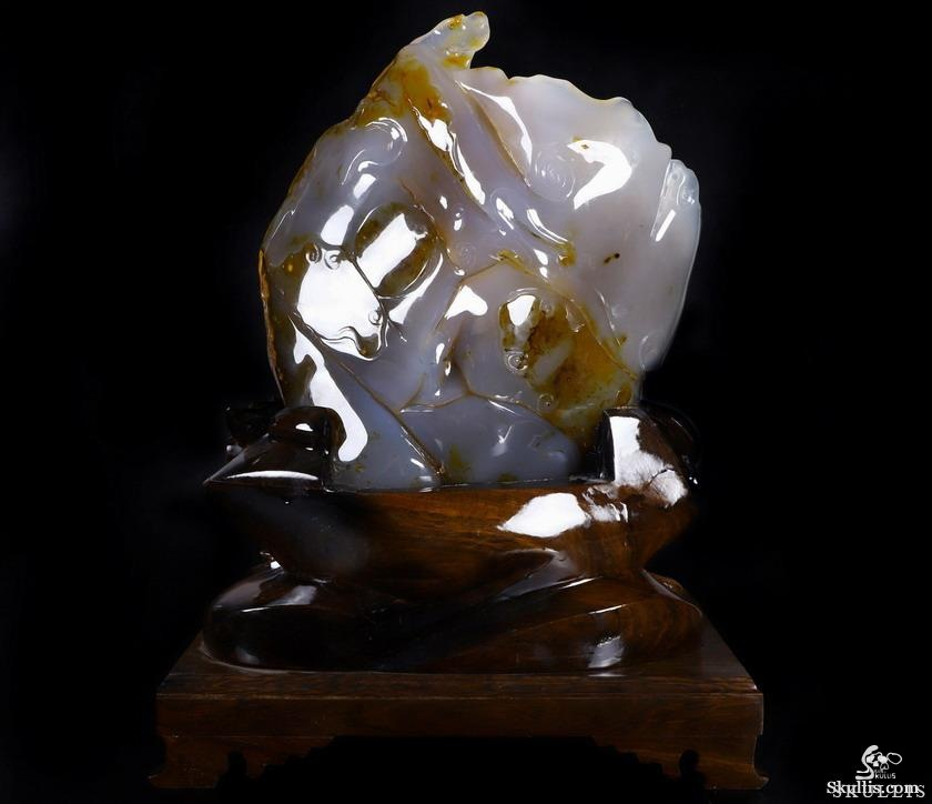 Agate Crystal 5 Lads and Buddha Sculpture, Hair in Head