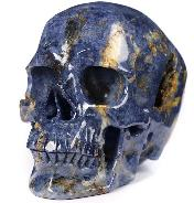 "Huge Gemstone 5.1"" Sapphire Corundum Carved Crystal Skull,Super Realistic, Crystal Healing"