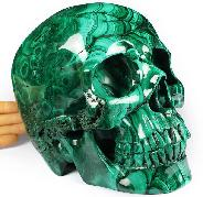 "GIANT 8.0"" Malachite Carved Crystal Skull,Super Realistic, Crystal Healing"