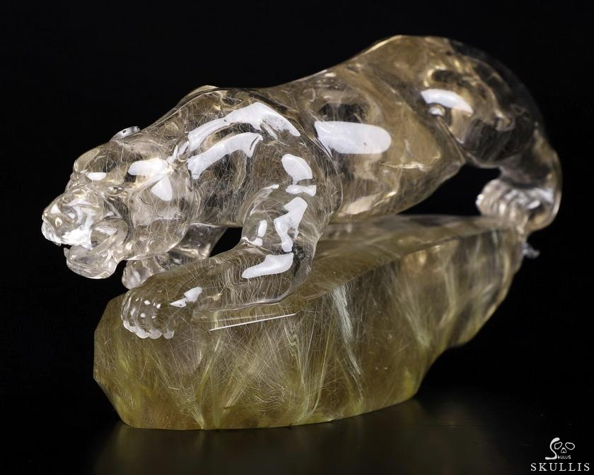 Rutilated Quartz Rock Crystal Crystal Leopard Sculpture With Stand