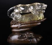 "GEMSTONE 7.8"" Rutilated Quartz Rock Crystal Carved Crystal Leopard Sculpture With Stand, Crystal Healing"