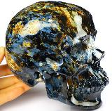 "AMAZING Huge 5.3"" Blue Pietersite Carved Crystal Skull,Super Realistic, Crystal Healing"