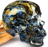 "Rare Awesome Flash Huge 5.3"" Blue Pietersite Carved Crystal Skull,Super Realistic, COLLECTION"