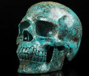 "Gemstone Huge 5.5"" Turquoise Carved Crystal Skull,Super Realistic, Crystal Healing"