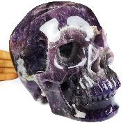 "Lifesized 7.9"" Amethyst Carved Crystal Skull,Super Realistic, Crystal Healing"