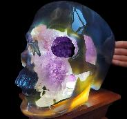 "Amazing 8.9"" Agate Amethyst Geode Carved Crystal Skull,Super Realistic, Crystal Healing"