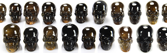 Superior Quality Smoky Quartz Carved Crystal Skulls
