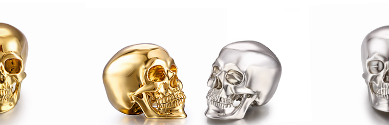 Skullis 18k Yellow Gold Skull & Sterling Silver