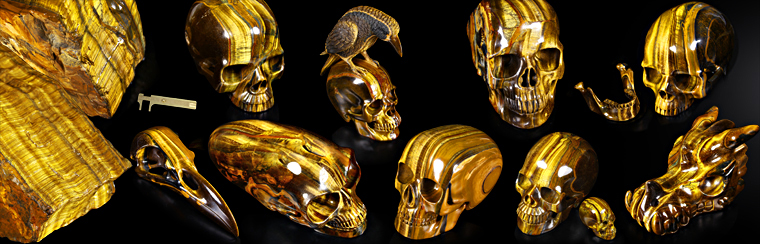 Awesome Gemstone Tiger Eye Carved Skulls.