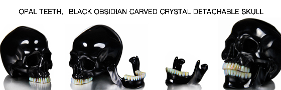 Black Obsidian Carved Crystal Skull with Opal Teeth and Detachable Jaw Sculpture