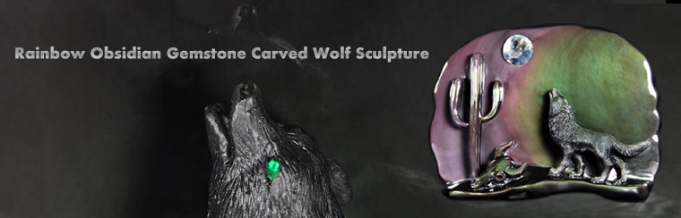 Rainbow Obsidian Carved Crystal Howling Wolf Sculpture