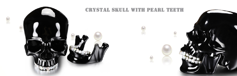 "Pearly Whites 8.0"" Black Obsidian Carved Crystal Skull with Freshwater Pearl Teeth & Detachable Jaw Sculpture"