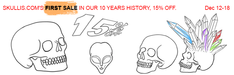 SKULLIS COM'S FIRST SALE IN OUR 10 YEARS HISTORY, 15% OFF