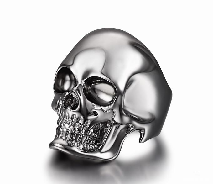 The Master Rhodium Plated Sterling Silver Skull Ring