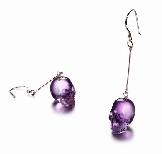 Amethyst Crystal Skull Earring