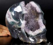 "Giant 7.9"" Agate Amethyst Geode Carved Crystal Skull, Realistic"